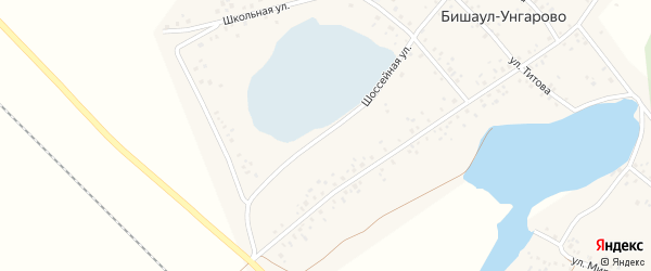 Школьная улица на карте деревни Бишаул-Унгарово с номерами домов