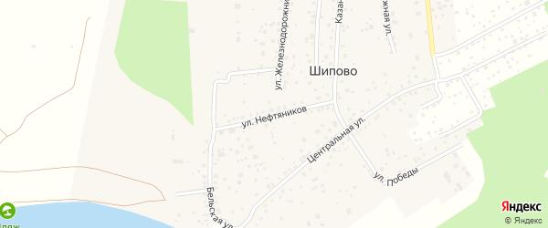 Улица Нефтяников на карте деревни Шипово с номерами домов
