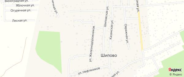 Улица Железнодорожников на карте деревни Шипово с номерами домов