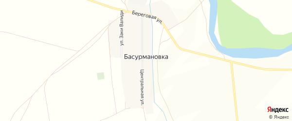 Карта деревни Басурмановки в Башкортостане с улицами и номерами домов