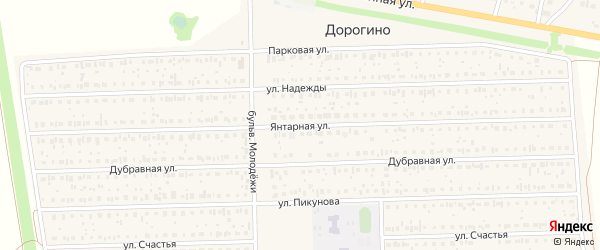 Янтарная улица на карте деревни Дорогино с номерами домов