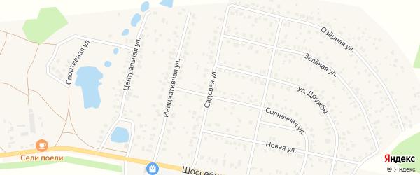 Садовая улица на карте деревни Дорогино с номерами домов