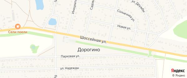 Шоссейная улица на карте деревни Дорогино с номерами домов