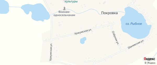 Уржумская улица на карте села Покровки с номерами домов