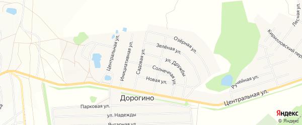 Карта деревни Дорогино города Уфы в Башкортостане с улицами и номерами домов