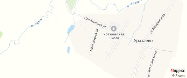 Молодежная улица на карте деревни Уразаево с номерами домов