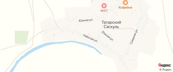 Рабочая улица на карте деревни Татарского Саскуля с номерами домов