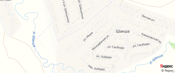 Улица Мира на карте деревни Шакши с номерами домов
