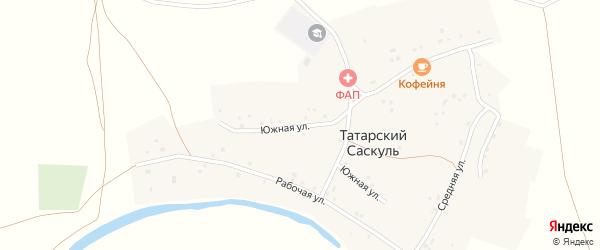 Южная улица на карте деревни Татарского Саскуля с номерами домов