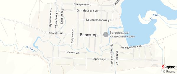 Карта села Верхотора в Башкортостане с улицами и номерами домов