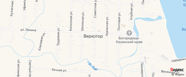 Комсомольская улица на карте села Верхотора с номерами домов