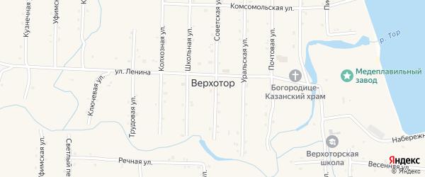 Набережная улица на карте села Верхотора с номерами домов