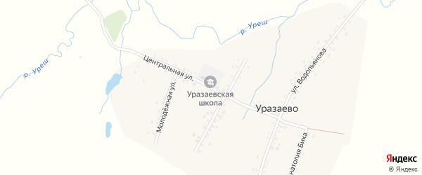 Центральная улица на карте деревни Уразаево с номерами домов