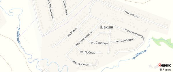 Молодежная улица на карте деревни Шакши с номерами домов