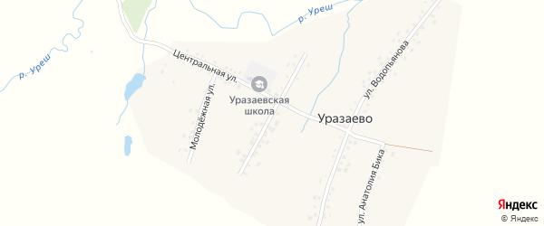 Улица Кутлыгузина на карте деревни Уразаево с номерами домов