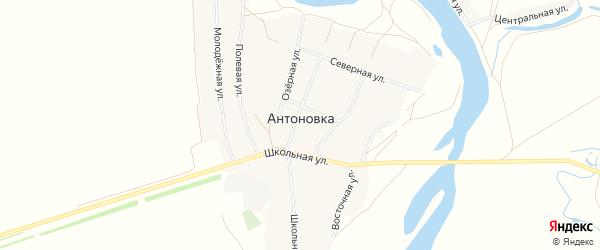 Карта села Антоновки в Башкортостане с улицами и номерами домов