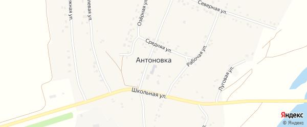 Рабочая улица на карте села Антоновки с номерами домов