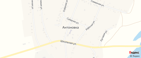 Восточная улица на карте села Антоновки с номерами домов