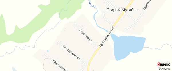 Заречная улица на карте села Старого Мутабаша с номерами домов