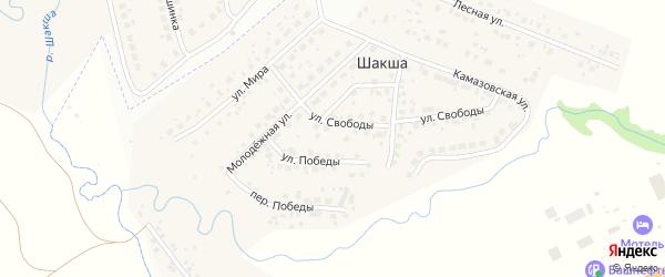 Переулок Победы на карте деревни Шакши с номерами домов
