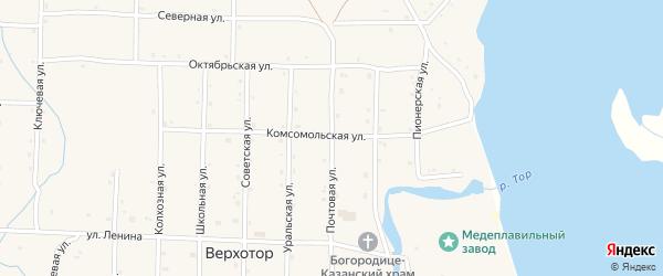 Почтовая улица на карте села Верхотора с номерами домов