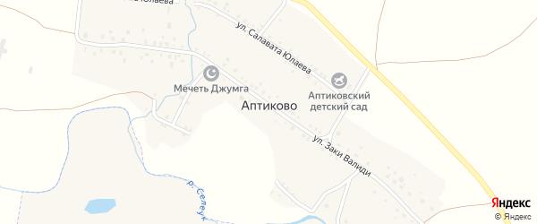 Береговая улица на карте деревни Аптиково с номерами домов