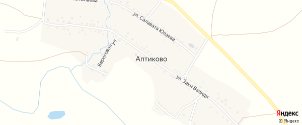 Улица Заки Валиди на карте деревни Аптиково с номерами домов