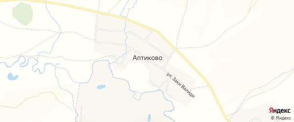 Карта деревни Аптиково в Башкортостане с улицами и номерами домов