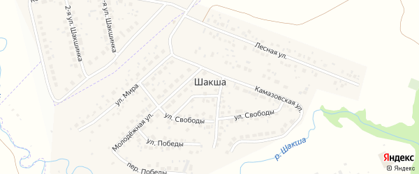 Переулок Свободы на карте деревни Шакши с номерами домов
