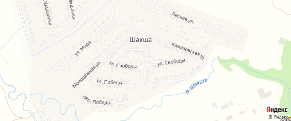 Улица М.Гареева на карте деревни Шакши с номерами домов