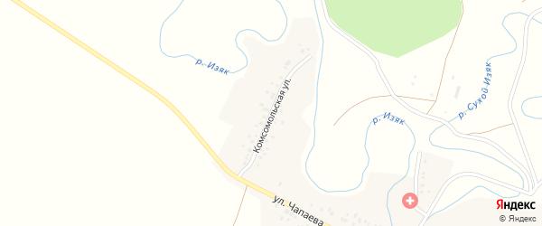 Комсомольская улица на карте деревни Нижнего Изяка с номерами домов