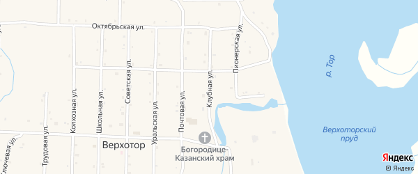 Клубная улица на карте села Верхотора с номерами домов