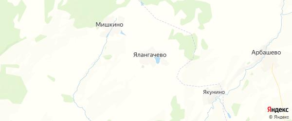 Карта Ялангачевского сельсовета республики Башкортостан с районами, улицами и номерами домов