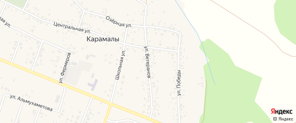 Улица Ветеранов на карте села Карамалы с номерами домов