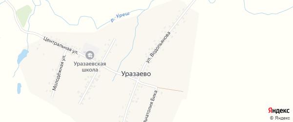 Улица Водопьянова на карте деревни Уразаево с номерами домов