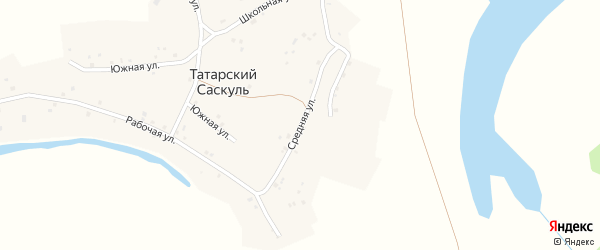 Средняя улица на карте деревни Татарского Саскуля с номерами домов