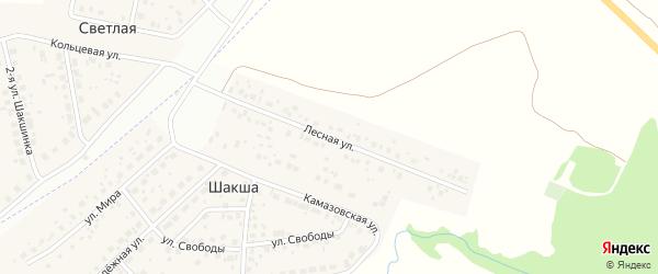 Лесная улица на карте деревни Шакши с номерами домов