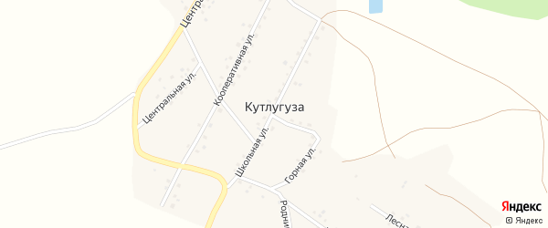 Школьный переулок на карте деревни Кутлугуза с номерами домов