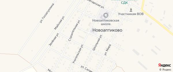Учительская улица на карте села Новоаптиково с номерами домов