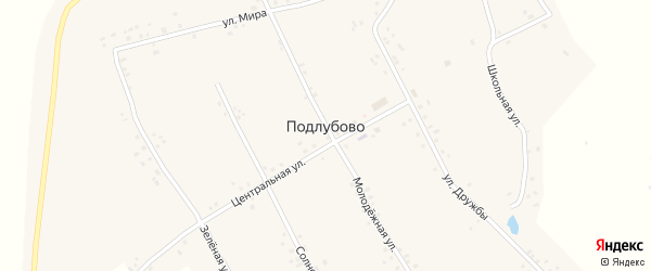 Солнечная улица на карте деревни Подлубово с номерами домов