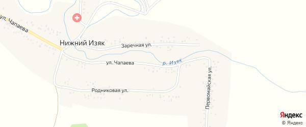 Первомайская улица на карте деревни Нижнего Изяка с номерами домов