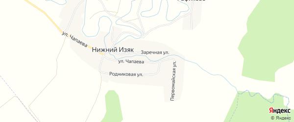Карта деревни Нижнего Изяка в Башкортостане с улицами и номерами домов