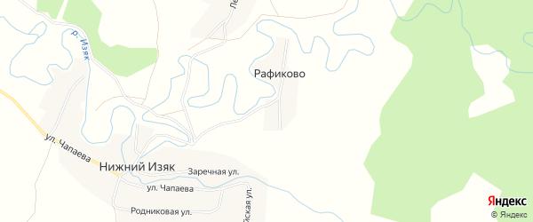 Карта деревни Рафиково в Башкортостане с улицами и номерами домов