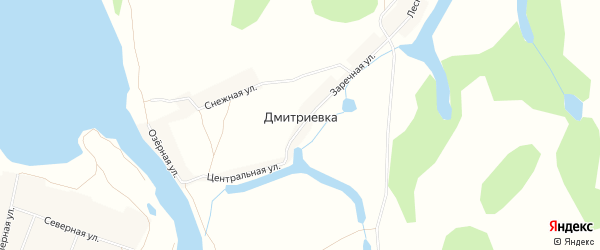 Карта деревни Дмитриевки в Башкортостане с улицами и номерами домов