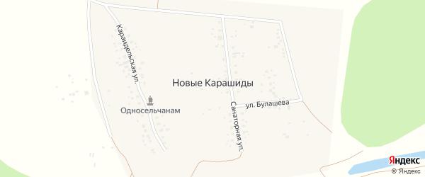 Санаторная улица на карте деревни Новые Карашиды с номерами домов
