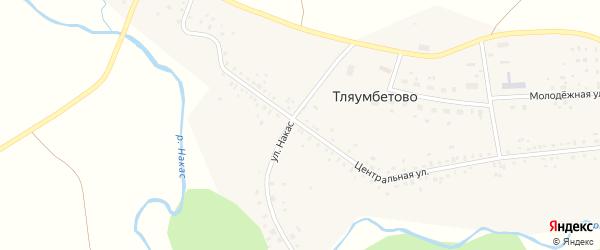 Улица Накас на карте деревни Тляумбетово с номерами домов