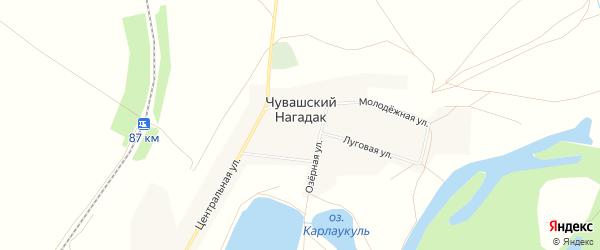 Карта деревни Чувашского Нагадака в Башкортостане с улицами и номерами домов