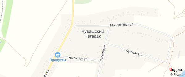 Центральная улица на карте деревни Чувашского Нагадака с номерами домов