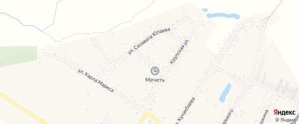 Школьная улица на карте деревни Улукулево с номерами домов