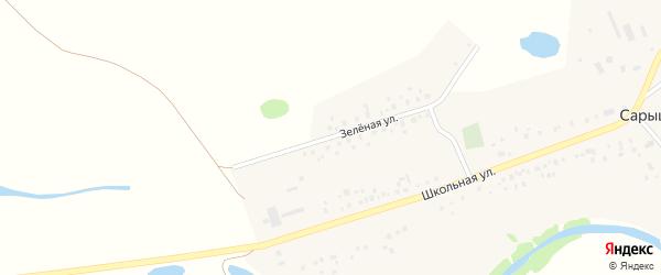 Зеленая улица на карте деревни Сарышево с номерами домов